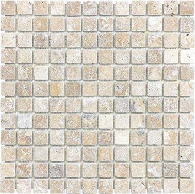 1x1 Tumbled Picasso Travertine Mosaic 12 x 12